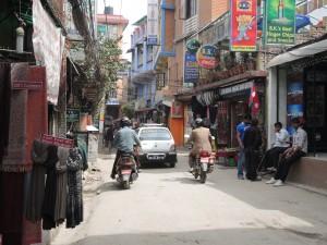 Thamel tourist area in Kathmandu.