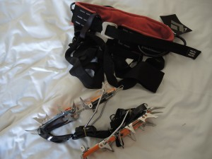 New Harness and Crampons. Last minute packing sometimes result in that you do not find what you need to bring with you. I did not find my crampons and had to buy new ones.